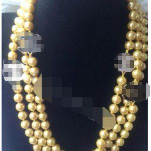 """Hot sell Noble- FREE SHIPPING>>>@@ AS4906 NEW 60"""" Long beautiful 8mm Gold shell pearl necklace"""