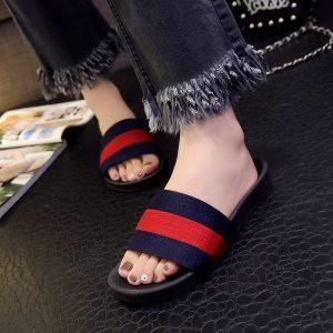 Kjstyrka 2018 Women Flat Slippers Casual Flats Shoes Brand Embroider B Slipper Slip On Slides Beach Slippers
