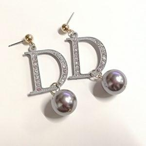 Korean simple big  D crystal  pearl earrings for women