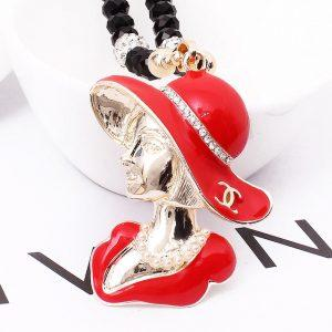 Korean version of the beautiful handmade crystal head long section with jewelry necklace Miss Mao Yilian  E-0050