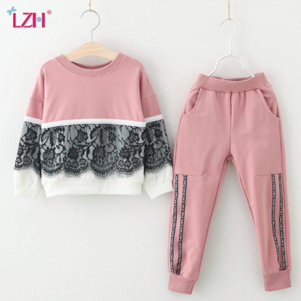 LZH Children Clothing 2018 Spring Autumn Girls Clothes T-shirt+Pants 2pcs Kids Clothes Girls Sport Suits For Girls Clothing Sets