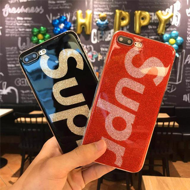 new style 45bd2 70d5e Luxury Brand Sup Glitter Phone Case for iPhone 6 6s 7 8 Plus 6Plus 7Plus  8Plus Rubber Silicone Cover for coque iPhone 6 7 iPone