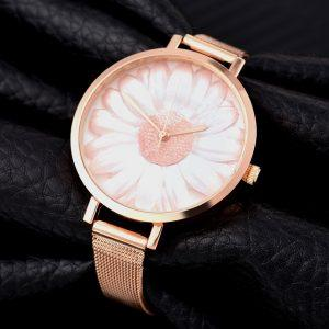 Luxury Rose Gold Quartz Daisy Watches Women Simple Stainless Steel Mesh Belt Clock Ladies Dress Watch Gift Wristwatch