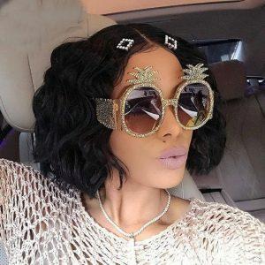 MINCL/ 2018 Pineapple Shaped Diamond Sunglasses Women Fashion Crystal Round Sun Glasses Female Unique Luxury Eyewear FML