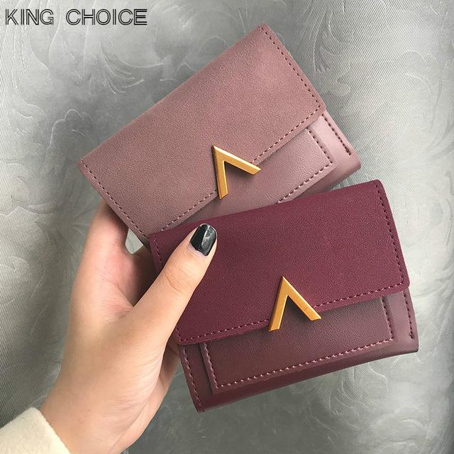 0ba4dd9c92eb Matte Leather Small Women Wallet Luxury Brand Famous Mini Womens Wallets  And Purses Short Female Coin