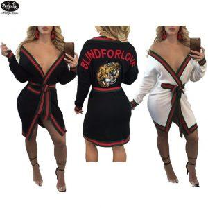 New Autumn Women Trench Coat 2017 Female Sexy Deep V-neck Long-sleeves Letters Casual Cardigans Coats Slim Clothing