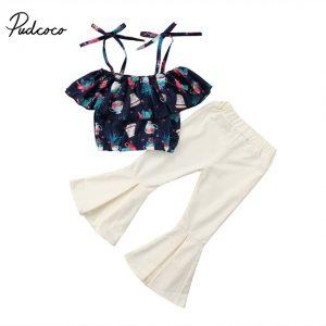 New Stylish Kids Girls baby summer clothe suit Floral print strap T-shirt Top long white Flare Pants Pudcoco Outfits Set 2018