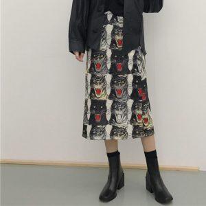 New street fashion 2018 high-play tiger head printing was thin waist skirt Spring and Autumn Women LSD873