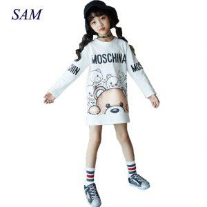 New sutumn and spring big girls long sweater dress children casual cartoon bear straight dresses child letter print clothes
