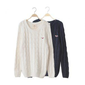 Nice Warm Sweater Women Fashion Casual Knitted Pullover O-Neck Long Sleeve Solid Navy Blue White Slim Fashion Brand Sweater A214