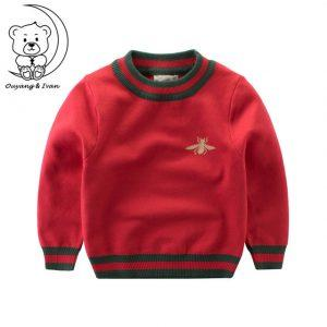 Ouyang&Ivan Bee Pattern Casual Style Autumn Knitted Boys Sweaters Students Children Clothes O-neck kids Thick christmas sweater