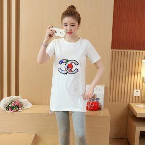 Pregnant women wear summer 2017 embroidery sequins loose cotton shirt in the long section of short-sleeved T-shirt pregnancy
