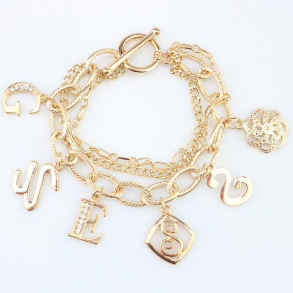 Punk Rock Letter Pendant Bracelet Gold Color Multi Chain Crystal Rhinestone Bracelets for Women Ladies Fashion Jewelry