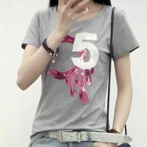 S M L Xl Spring Summer 2017 White Casual Loose O-neck Short Sleeve T-shirt Number Sequin Slub 100% Cotton T-shirt Female