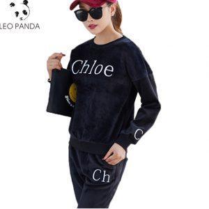 Spring / Autumn VOGUE 2018 Velvet Women's Brand Tracksuit Velvet Cloth Women's Suit Velor  Tracksuit & Pants Print Front Sweatsh