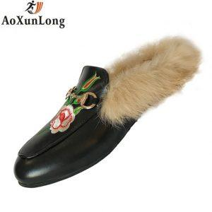 Spring & Winter Slippers Women Fashion Leather Plush Home Slippers Black Embroidered Bee Women Shoes Indoor Warmth Shoes Woman 8