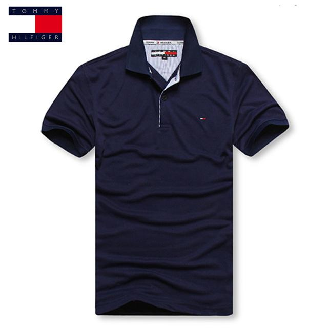 9a8ca5a798c TOMMY HILFIGER High Quality Top&Tees Solid color Men Polo Embroidery  Poloshirt Casual Polo Shirts men's brand