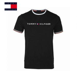 TOMMY HILFIGER New Fashion Brand Men Clothes Solid Color short Sleeve Slim Fit T Shirt Men Cotton T-Shirt Casual T Shirts