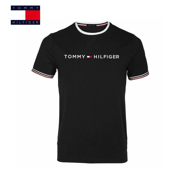 fde1709a TOMMY HILFIGER New Fashion Brand Men Clothes Solid Color short Sleeve Slim  Fit T Shirt Men