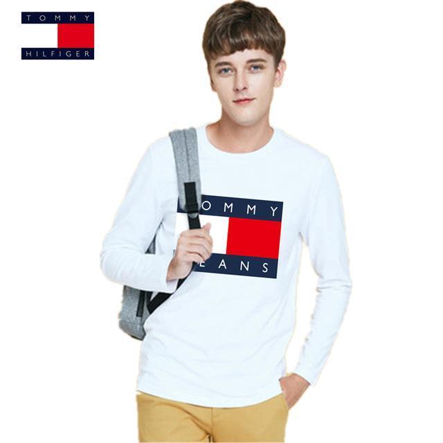 e3e8758b TOMMY HILFIGER T-Shirt Men Spring Autumn Plus Size 6XL T Shirt Men 8 Color