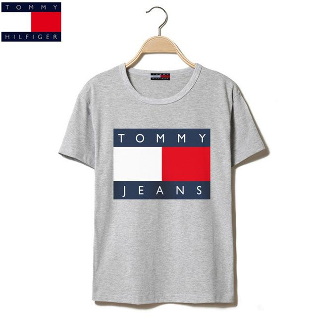 290c6d2e TOMMY HILFIGER big T-shirts Summer Tops Tees T shirt Men o-neck short