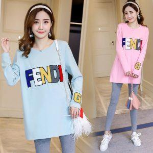 The new autumn and winter maternity clothing letter embroidery plus velvet thick long sleeved pregnant women under the shirt