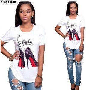 WayToIan Top quality Cotton cut pug print women T shirt casual o-neck women T-shirt 2017 new design woman tee shirts