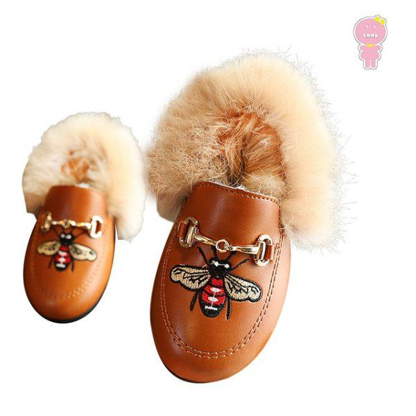 Winter warm fashion buckle bee embroidery PU + fake fur girls doug flat with shoes loafers children kid 12.9-21.5 cm