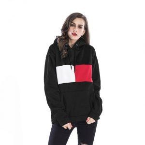 Women Loose Hooded Pullover Thick Fleece Warm Sweatshirt Long Sleeve Patchwork Stiching Color Fashion Hoodies Winter Casual Tops