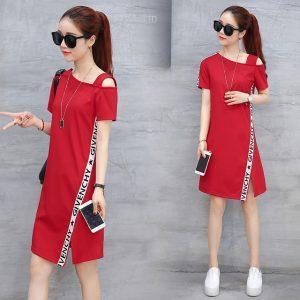 Women Summer Dress 2017 One Shoulder Dresses Ladies Letter Printed Cute Beach Dress Feminino Open Hem Red Dresses Vestidos
