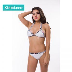 Xinmiaoer Sexy Letter Bikini for Women Monokini Bikinis Women 2018 Patchwork Swimsuit Bikini Set Swimsuits Female Swimwear 1823