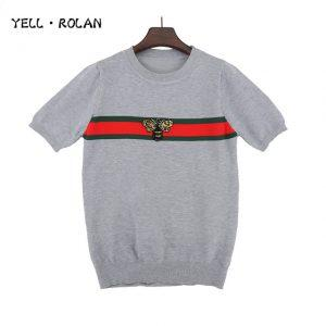 YELL ROLAN 2018 New Fashion Women's Short-sleeved Satin Sweater Spring And Autumn Round Neck Sweater Kawaii Knitted Pullover