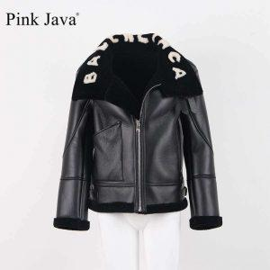 pink java QC8092 2018 free shipping women jacket real sheep fur lining and high quality PU leanther jacket