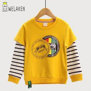 weLaken Casual Children's Sweatshirt Stripe Patchwork Kids Tops Autumn Outwear Fashion Style 2017 New Boys Hoodies Sweatshirts