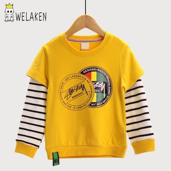 weLaken Casual Children's Sweatshirt Stripe Patchwork Kids Tops Autumn Outwear Fashion Style 2017 New Boys Hoodies Sweatshirts