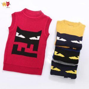 AD Cute Little cartooon Baby Sweaters Vest Cotton Boys Girls Sweaters Winter Kids Clothes Toddler Children's Clothing 12M-3Y