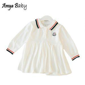 AmyaBaby White Dresses For Baby Girl Long Sleeve A-line Dresses Infant Girl Cotton Dresses New Spring Baby Girl Princess Dress