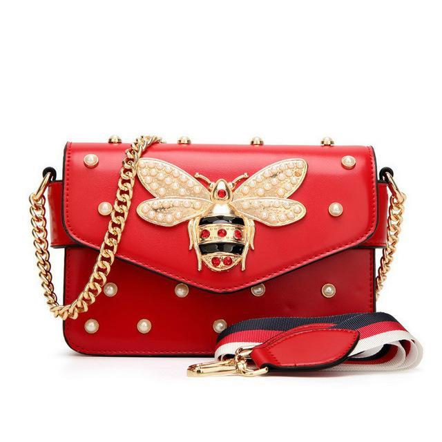 Fashion Women Messenger Bag New Brand Leather Female Shoulder Luxury Diamond Little Bee Woman Handbags
