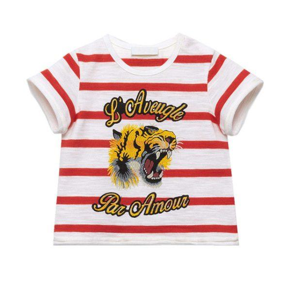 Little Maven New Boys  Summer Fashion Angry Tiger Striped Short O-neck Brand Cotton Quality Knitted Children Tshirt