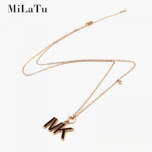 MiLaTu New 81cm Long Sweater Necklace Stainless Steel Black Letters I V K Pendant Necklace With CZ Stone Women Gift NE515G