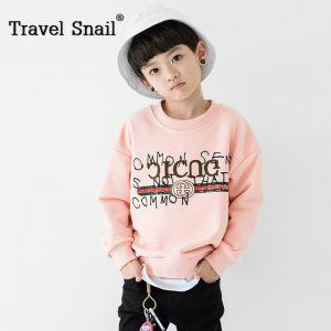 Travel snail 4-9 yrs boys t-shirts toddler boy long sleeve tops for boys t shirts kids tops pink cotton 2018 Spring New