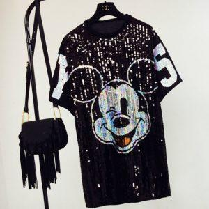 Mickey sequins loose Oversized Long T-shirt