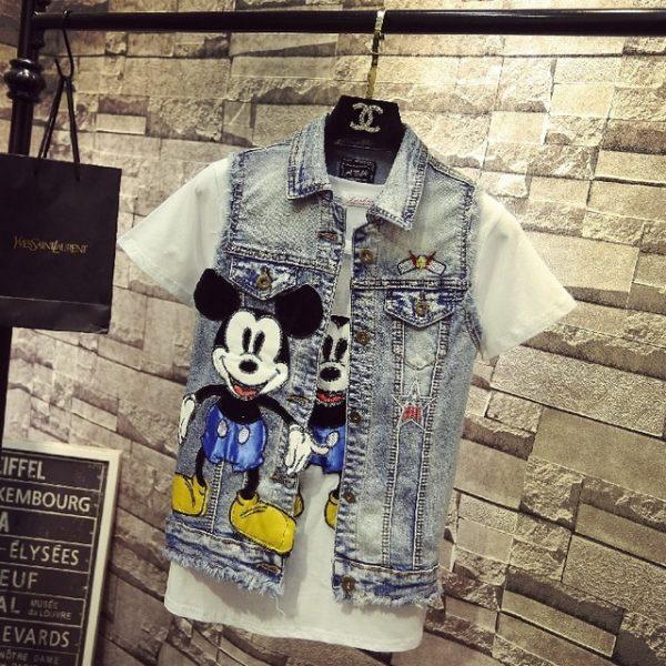 Disney inspired Fashion Mickey Denim vest